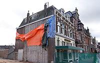 Nederland Leiden 2021. Afbraak van oudbouw in de stationsbuurt. Op deze plek komt nieuwbouw. Foto ANP / Berlinda van Dam