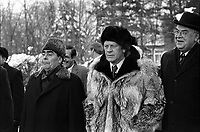 Photograph of President Gerald Ford and General Secretary Leonid Brezhnev as the two world leaders depart Okeansky Sanatorium after signing the Joint Communique on the Limitation of Strategic Offensive Arms. NOV 1974