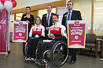 VERNON, BC--APRIL 02, 2014---Canadian Paralympians and Sochi 2014 gold medallists Sonja Gaudet and Josh Dueck at the CIBC Vernon main branch on April 2, 2014.  This is a local CIBC Paralympian Welcome Home event for athletes who participated in the 2014 Paralympic Games in Sochi.  (CANADIAN PRESS IMAGES/Jeff Bassett)