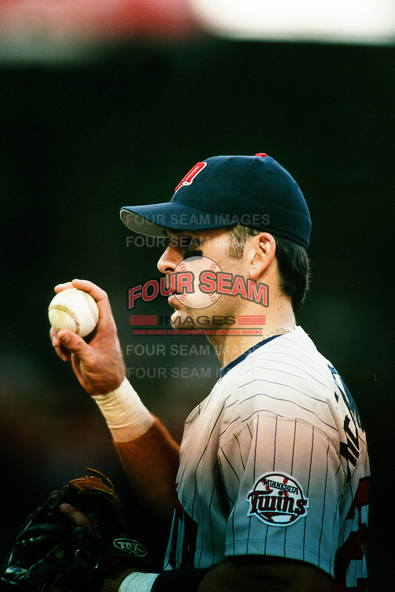Doug Mientkiewicz of the Minnesota Twins during a game against the Anaheim Angels at Angel Stadium circa 1999 in Anaheim, California. (Larry Goren/Four Seam Images)