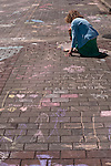 Chalk painting woman artist