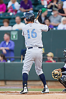 Bubba Starling (16) of the Wilmington Blue Rocks at bat against the Winston-Salem Dash at BB&T Ballpark on April 3, 2014 in Winston-Salem, North Carolina.  The Blue Rocks defeated the Dash 3-1.  (Brian Westerholt/Four Seam Images)