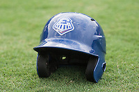 Round Rock Express helmet on June 22, 2014 at the Dell Diamond in Round Rock, Texas. (Andrew Woolley/Four Seam Images)