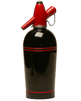 seltzer bottle, made by sparklets corp. retro, black and red that has been clipped