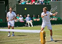 England, London, 28.06.2014. Tennis, Wimbledon, AELTC, Gentlemen's invitational doubles, Paul Haarhuis (NED) and his partner Jacco Eltingh (NED)(L)<br /> Photo: Tennisimages/Henk Koster