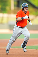 Christian Walker (19) of the Frederick Keys hustles towards third base against the Winston-Salem Dash at BB&T Ballpark on May 28, 2013 in Winston-Salem, North Carolina.  The Dash defeated the Keys 17-5 in the first game of a double-header.  (Brian Westerholt/Four Seam Images)