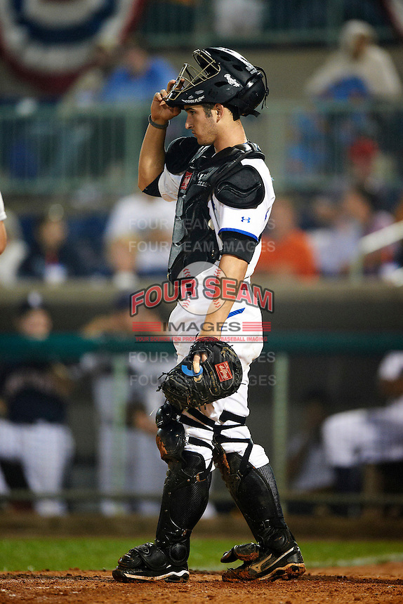Aberdeen Ironbirds catcher Sam Kimmel #1 during the NY-Penn League All-Star Game at Eastwood Field on August 14, 2012 in Niles, Ohio.  National League defeated the American League 8-1.  (Mike Janes/Four Seam Images)