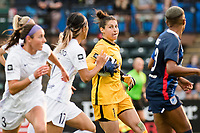 TACOMA, WA - JULY 31: Michelle Betos #1 of Racing Louisville FC looks on during a game between Racing Louisville FC and OL Reign at Cheney Stadium on July 31, 2021 in Tacoma, Washington.