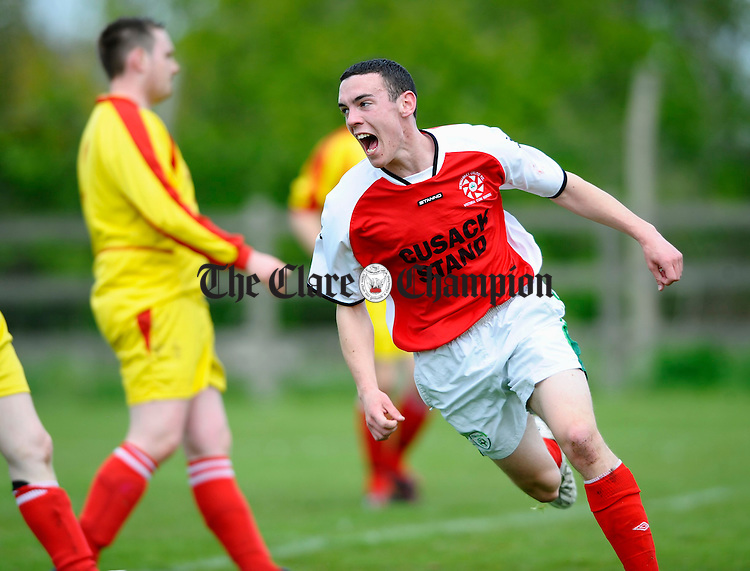 Newmarkets Jamie Egan celebrates his goal against Corofin  during the Youths Cup final at Doora. Photograph by John Kelly.