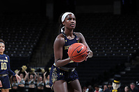WINSTON-SALEM, NC - FEBRUARY 06: Destinee Walker #24 of the University of Notre Dame shoots a free throw during a game between Notre Dame and Wake Forest at Lawrence Joel Veterans Memorial Coliseum on February 06, 2020 in Winston-Salem, North Carolina.