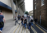 Fans making their way through the narrow gap between the Eat Stand and St James Street. Newcastle v West Ham, August 15th 2021. The first game of the season, and the first time fans were allowed into St James Park since the Coronavirus pandemic. 50,673 people watched West Ham come from behind twice to secure a 2-4 win.