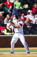 Woody Wallace (10) of the Cincinnati Bearcats at bat against the Radford Highlanders at Wake Forest Baseball Park on February 22, 2014 in Winston-Salem, North Carolina.  The Highlanders defeated the Bearcats 6-5.  (Brian Westerholt/Four Seam Images)