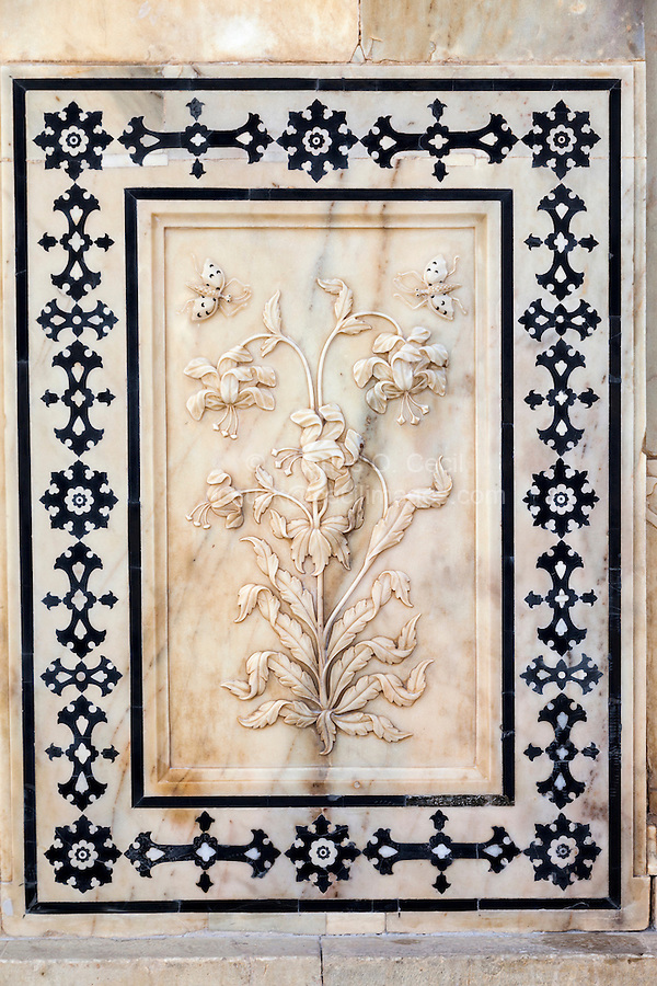 """Jaipur, Rajasthan, India.  Carving in Marble of """"the Magic Flower Fresco.""""  Amber (or Amer) Palace, near Jaipur."""