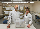 Dec. 16, 2013; Research professors Neil Lobo, left, and Nicole Achee in Galvin Life Sciences. They are collaborating with external partners on a project to help fight malaria and dengue fever.<br /> <br /> Photo by Matt Cashore/University of Notre Dame
