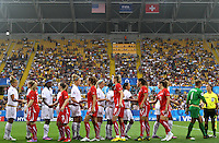 Shakehands between Team USA and Switzerland during the opening ceremony during during the FIFA U20 Women's World Cup at the Rudolf Harbig Stadium in Dresden, Germany on July 17th, 2010.