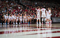 STANFORD, CA - March 17, 2018: Team at Maples Pavilion. The Stanford Cardinal defeated the Gonzaga Bulldogs 82-68 to advance to the second round of the NCAA tournament.