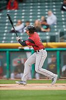 Chris Shaw (15) of the Sacramento River Cats bats against the Salt Lake Bees at Smith's Ballpark on April 19, 2018 in Salt Lake City, Utah. Salt Lake defeated Sacramento 10-7. (Stephen Smith/Four Seam Images)