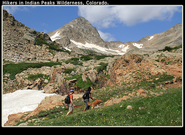 Hikers ascend to Blue Lake and Mt Toll, Indian Peaks Wilderness, just west of Boulder.<br />