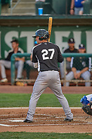 Cody Clark (27) of the Grand Junction Rockies at bat against the Ogden Raptors at Lindquist Field on June 5, 2021 in Ogden, Utah. The Raptors defeated the Rockies 18-1. (Stephen Smith/Four Seam Images)