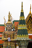 Bangkok, Thailand.  Demon Guardian in the Royal Grand Palace Grounds.