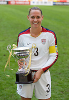 USA captain (3) Christie Rampone holds the champions trophy after the Four Nations Tournament in  Guangzhou, China on January 20, 2008. The U.S. defeated China, 1-0, to win the tournament.