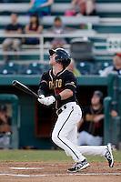 David Kandilas #27 of the Modesto Nuts bats against the Lancaster JetHawks at John Thurman Stadium on August 8, 2013 in Modesto, California. Modesto defeated Lancaster, 6-2. (Larry Goren/Four Seam Images)