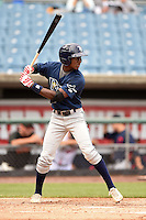 Lucius Fox Jr (1) of American Heritage Boca Delray High School in Lake Worth, Florida playing for the Tampa Bay Rays scout team during the East Coast Pro Showcase on July 31, 2014 at NBT Bank Stadium in Syracuse, New York.  (Mike Janes/Four Seam Images)