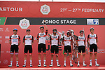 UAE Team Emirates at sign on before the start of Stage 1 of the 2021 UAE Tour the ADNOC Stage running 176km from Al Dhafra Castle to Al Mirfa, Abu Dhabi, UAE. 21st February 2021.  <br /> Picture: LaPresse/Fabio Ferrari | Cyclefile<br /> <br /> All photos usage must carry mandatory copyright credit (© Cyclefile | LaPresse/Fabio Ferrari)