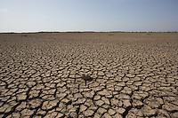Dried mud flats in the Little Rann of Kutch, Gujarat, India