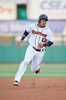 Rochester Red Wings shortstop Jorge Polanco (12) runs the bases during a game against the Lehigh Valley IronPigs on June 30, 2018 at Frontier Field in Rochester, New York.  Lehigh Valley defeated Rochester 6-2.  (Mike Janes/Four Seam Images)
