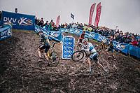 Mathieu van der Poel (NED/Corendon-Circus) trying not to slip off behind Toon Aerts (BEL/Telenet Fidea Lions)<br /> <br /> men's race<br /> Soudal Jaarmarktcross Niel 2018 (BEL)