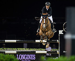Pilar Lucrecia Cordon on Nuage Bleu competes during the AirbusTrophy at the Longines Masters of Hong Kong on 20 February 2016 at the Asia World Expo in Hong Kong, China. Photo by Juan Manuel Serrano / Power Sport Images