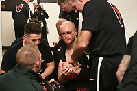George Groves is treated in the dressing room for a shoulder injury after defeating Chris Eubank Jr during a Boxing Show at the Manchester Arena on 17th February 2018