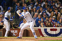 Chicago Cubs Kris Bryant (17) bats in the fifth inning during Game 4 of the Major League Baseball World Series against the Cleveland Indians on October 29, 2016 at Wrigley Field in Chicago, Illinois.  (Mike Janes/Four Seam Images)