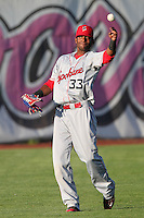 Spokane Indians outfielder Ruben Sierra,jr. #33 during game against the Salem-Keizer Valcanoes at Valcanoes Stadium on August 10, 2011 in Salem-Keizer,Oregon. Salem-Keizer defeated Spokane 7-6.(Larry Goren/Four Seam Images)