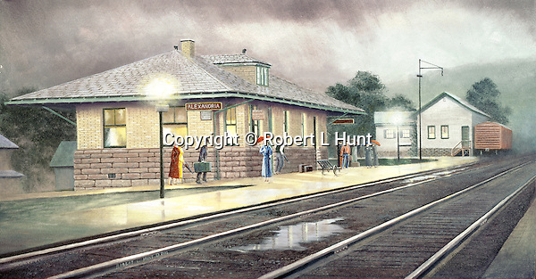 """Alexandria PA train station with people on the platform waiting after the rain for the next Pennsylvania Railroad passenger train, circa 1920. Oil on canvas, 15"""" x 20""""."""