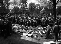 Chaplains of the U.S. Third Army conduct burial services for the 120 Russian and Polish Jews, victims of SS troopers' killing in a wood near Neunburg, Germany.  April 29, 1945.  Pfc. Wendell N. Hustead.  (Army)<br /> NARA FILE #:  111-SC-266662<br /> WAR & CONFLICT BOOK #:  1126