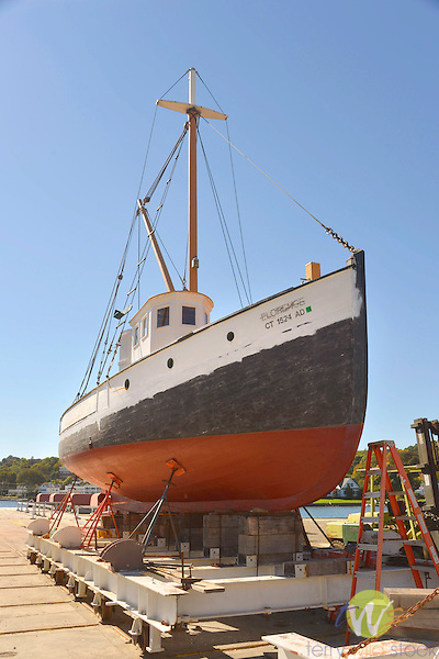 Mystic Seaport and historic 19th century village museum. 'Florence' dragger fishing boat. 1910.