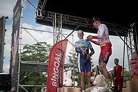 Kenneth Vanbilsen (BEL/Cofidis) wins Dwars door het Hageland 2019 (1.1) & receives a champagne shower by runner-up Niki Terpstra (NED/Total - Direct Energie)<br /> <br /> 1 day race from Aarschot to Diest (BEL/204km)<br /> <br /> ©kramon