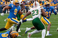 Pitt linebacker Saleem Brightwell (9) and defensive back Damarri Mathis pursue Miami running back Cam'Ron Harris (23). The Miami Hurricanes football team defeated the Pitt Panthers 16-12 in a game at Heinz Field, Pittsburgh, Pennsylvania on October 26, 2019.