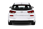 Straight rear view of a 2018 Hyundai Elantra GT GT Sport MT 5 Door Hatchback stock images