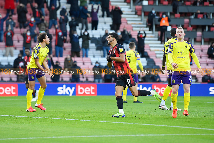 Dominic Solanke of AFC Bournemouth middle celebrates scoring the second goal during AFC Bournemouth vs Huddersfield Town, Sky Bet EFL Championship Football at the Vitality Stadium on 12th December 2020