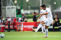 LAKE BUENA VISTA, FL - JULY 23: Mauricio Pineda #22 of the Chicago Fire kicks the ball during a game between Chicago Fire and Vancouver Whitecaps at Wide World of Sports on July 23, 2020 in Lake Buena Vista, Florida.