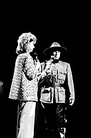 July 1985 File Photo - Dominique Michel (L) and Michel Drucker dressed as a Canadian Mounted Poilce  host the   Festival Juste Pour Rire Gala