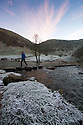 30/11/16<br /> <br /> One of the famous stepping stones on the river Dove near Ashbourne in the Derbyshire Peak District has been dislodged making the icy crossing impassable.<br /> <br /> All Rights Reserved F Stop Press Ltd. (0)1773 550665   www.fstoppress.com