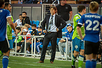 SAN JOSE, CA - MAY 12: Matias Almeyda Head Coach of the San Jose Earthquakes watches his players during a game between San Jose Earthquakes and Seattle Sounders FC at PayPal Park on May 12, 2021 in San Jose, California.