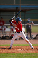 Luca Marino (8) bats during the Perfect Game National Underclass East Showcase on January 23, 2021 at Baseball City in St. Petersburg, Florida.  (Mike Janes/Four Seam Images)