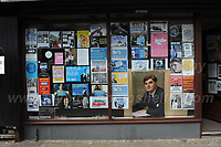 "A shop window in the town centre during ""The Bevan Festival"" celebrating the 70th Anniversary of the National Health Service. <br /> <br /> Tredegar, South Wales, Sunday 1st July 2018 <br /> <br /> <br /> Jeff Thomas Photography -  www.jaypics.photoshelter.com - <br /> e-mail swansea1001@hotmail.co.uk -<br /> Mob: 07837 386244 -"