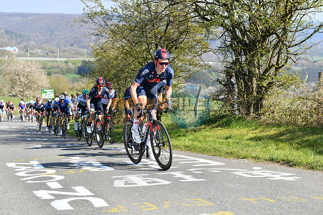 The peloton led by Tao Geoghegan Hart (GBR) and Ineos Grenadiers climb La Redoute during the 107th edition of Liege-Bastogne-Liege 2021, running 259.1km from Liege to Liege, Belgium. 25th April 221.  <br /> Picture: Serge Waldbillig | Cyclefile<br /> <br /> All photos usage must carry mandatory copyright credit (© Cyclefile | Serge Waldbillig)