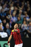 Yasutaka Uchiyama (JAP), MARCH 05, 2016 - Tennis : Yasutaka Uchiyama (JAP) serves during the Davis Cup by PNB Paribas , World Group first round between Great Britain and Japan at The Barclaycard Arena, Birmingham, United Kingdom. (Photo by Rob Munro/AFLO)